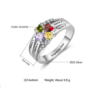 Sterling Silver 4 Heart Clover Top to Bottom with 6 Accents Birthstone Ring Rings PaulaMax Personalized Jewelry