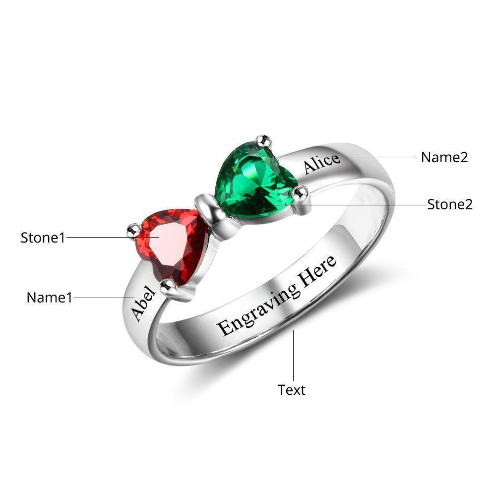 Birthstone Promise Ring with 2 Hearts Bowtie with Measurements - PaulaMax Personalized Jewelry