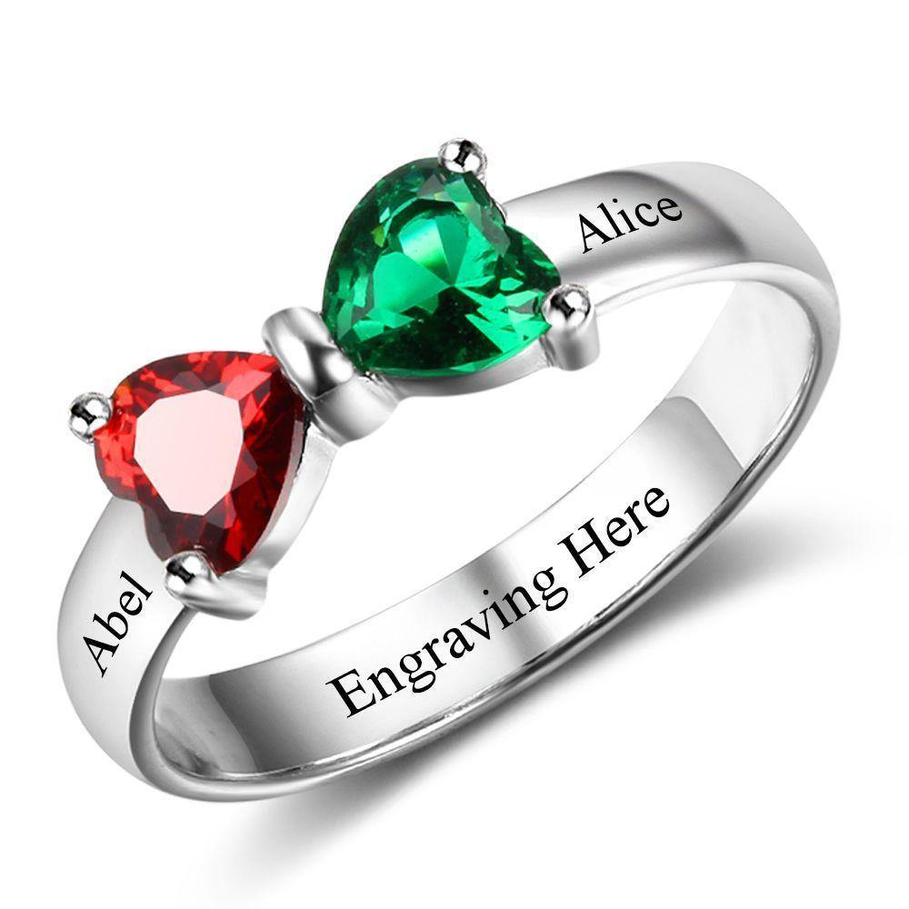 Birthstone Promise Ring with 2 Hearts Bowtie - PaulaMax Personalized Jewelry