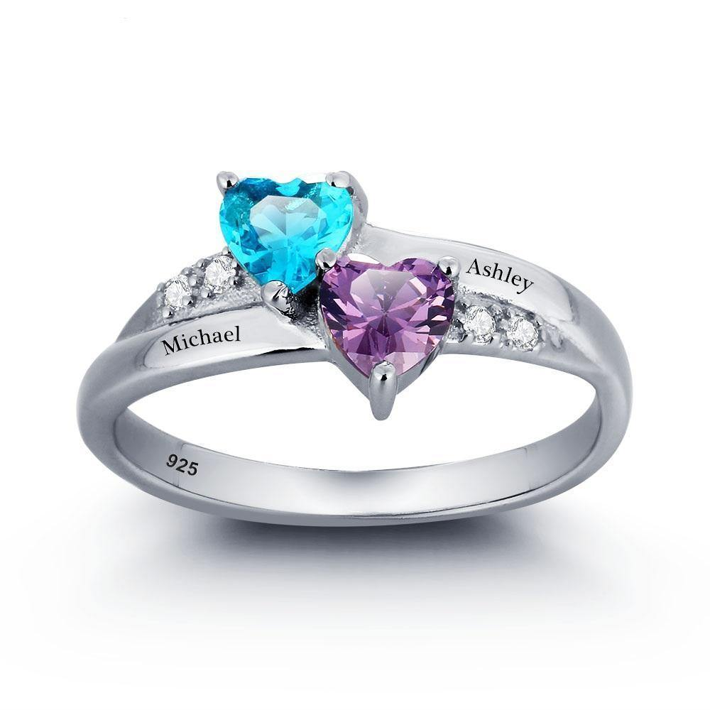 His and Her Promise Ring with 2 Heart Birthstones and Cubic Zirconia Accents PaulaMax Jewelry