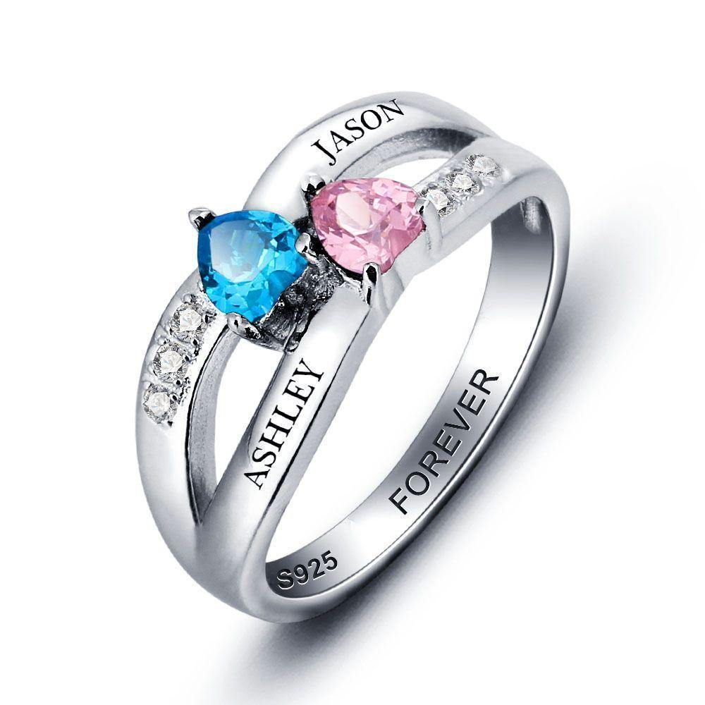 His and Her Promise Ring with 2 Heart Birthstones Teardrop and 6 Accents PaulaMax Jewelry