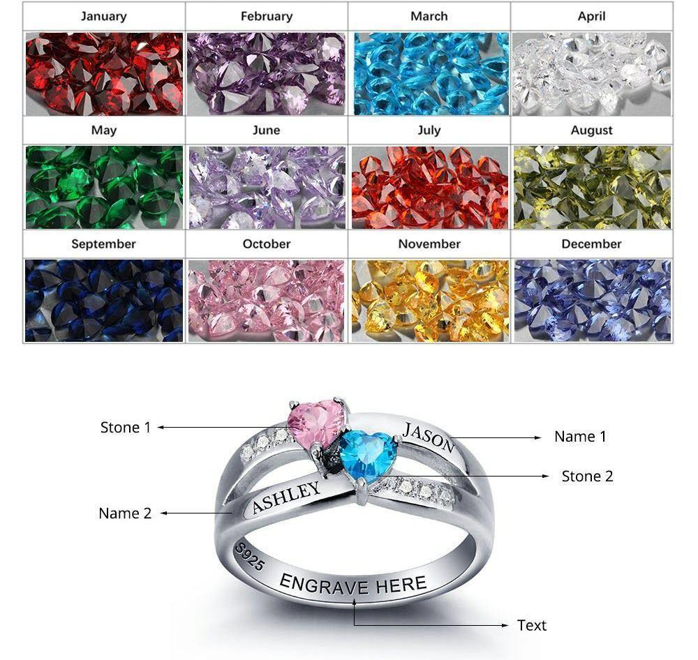 His and Her Promise Ring with 2 Heart Birthstones Teardrop and 6 Accents Birthstone Chart PaulaMax Jewelry