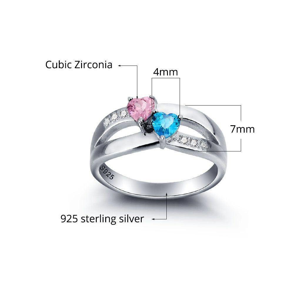 His and Her Promise Ring with 2 Heart Birthstones Teardrop and 6 Accents Measurements PaulaMax Jewelry