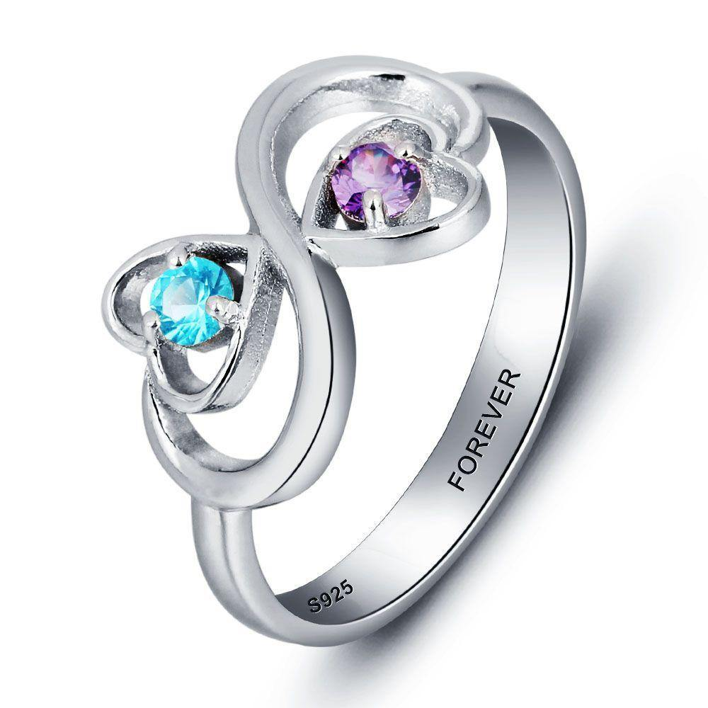 His and Her Promise Ring with 2 Heart Birthstones and Swirl Hearts - PaulaMax Personalized Jewelry