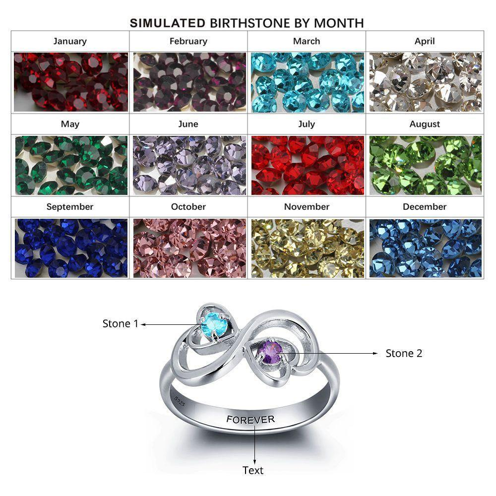 His and Her Promise Ring with 2 Heart Birthstones and Swirl Hearts with Birthstone Chart - PaulaMax Personalized Jewelry
