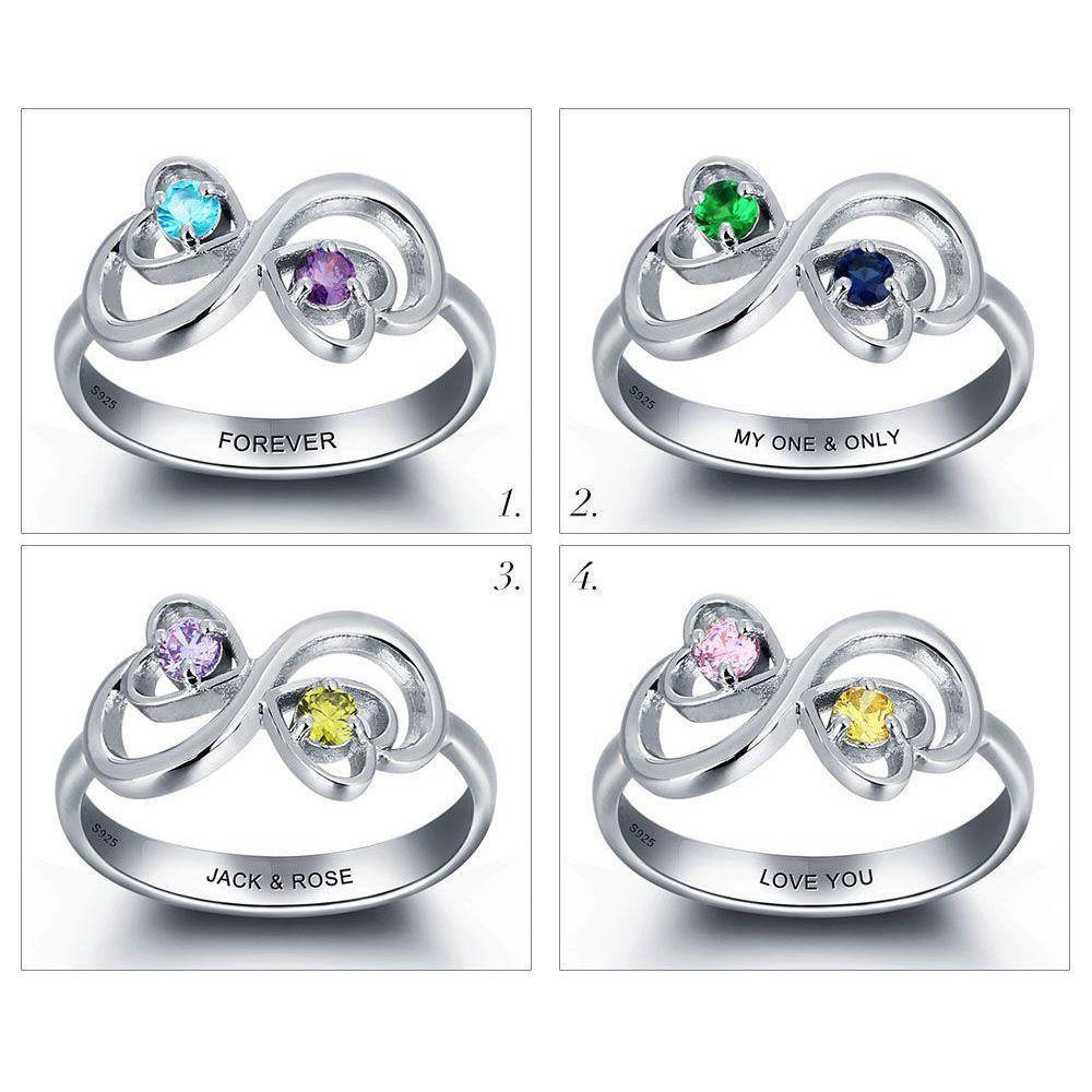 His and Her Promise Ring with 2 Heart Birthstones and Swirl Hearts and Birthstone Comparison - PaulaMax Personalized Jewelry