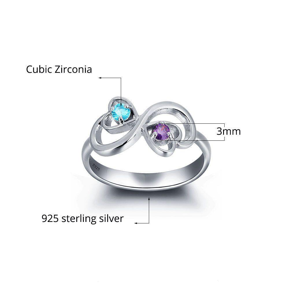 His and Her Promise Ring with 2 Heart Birthstones and Swirl Hearts Measurements - PaulaMax Personalized Jewelry