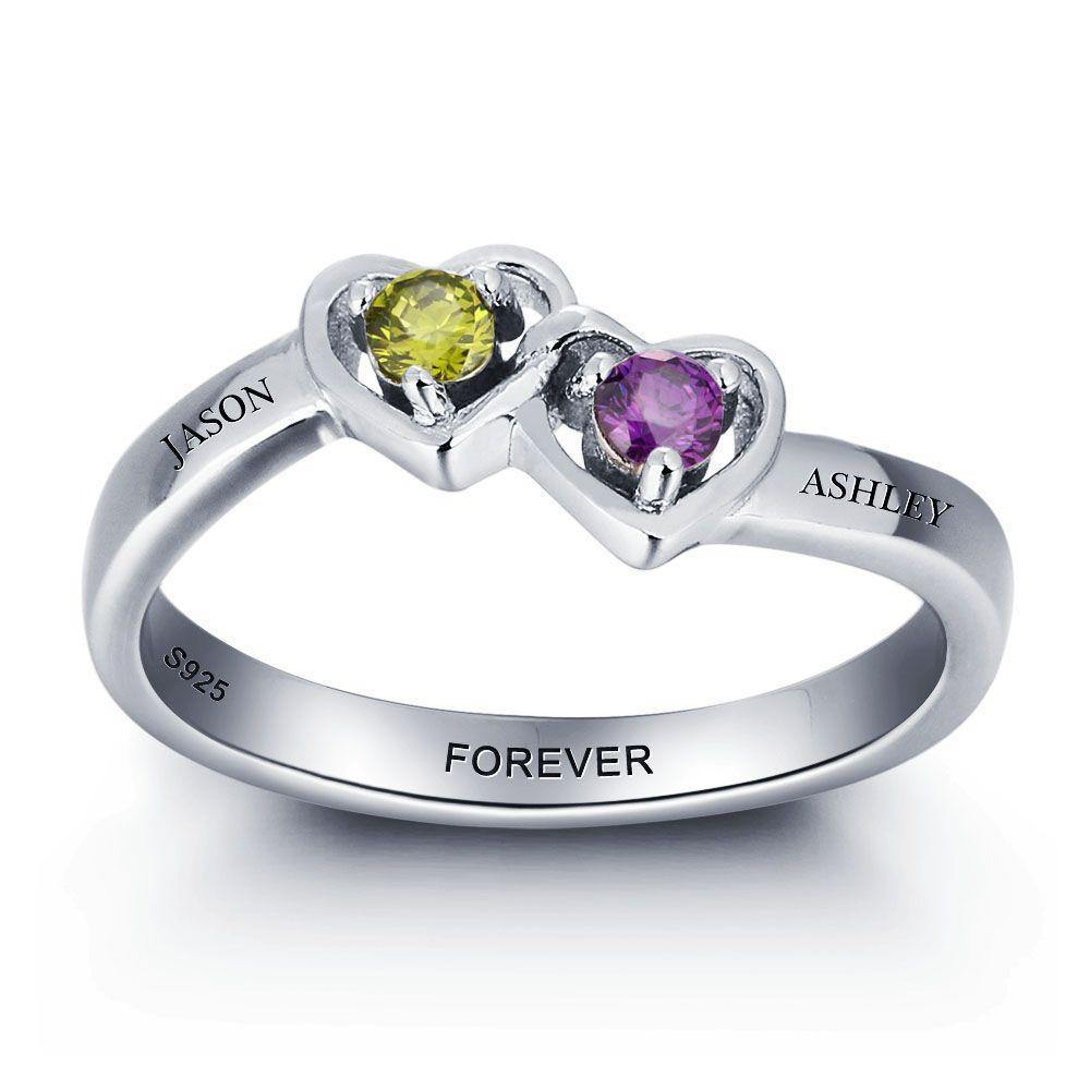 His and Her Promise Ring with Interlocking Hearts and 2 Birthstones - PaulaMax Personalized Jewelry