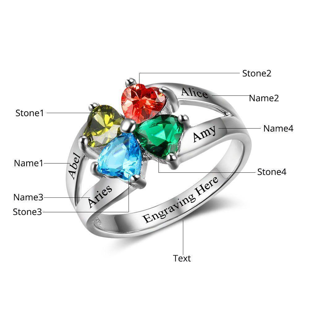 Mothers Ring with 4 Heart Birthstones Engravings PaulaMax Jewelry
