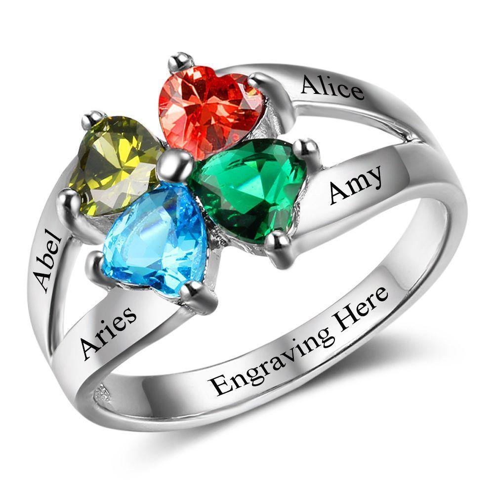 Mothers Ring with 4 Heart Birthstones PaulaMax Jewelry