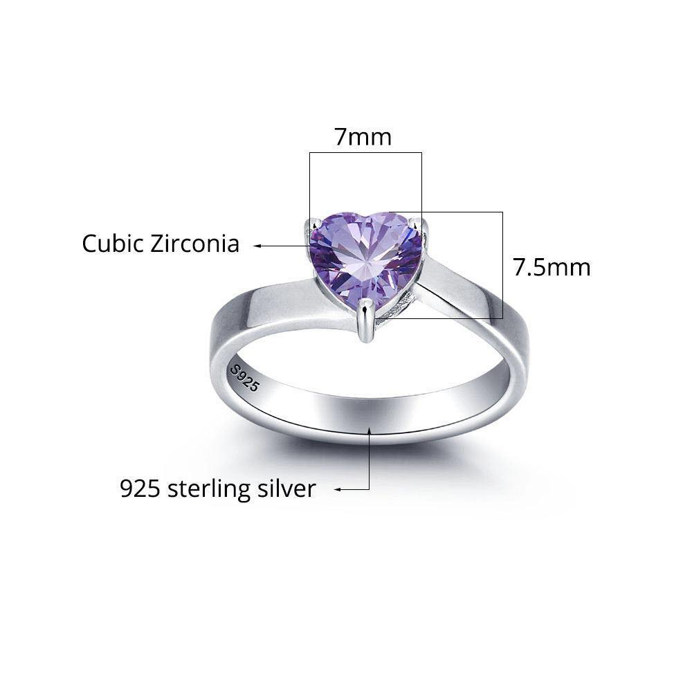 Personalized Promise Ring with Heart Birthstone Measurements PaulaMax Jewelry