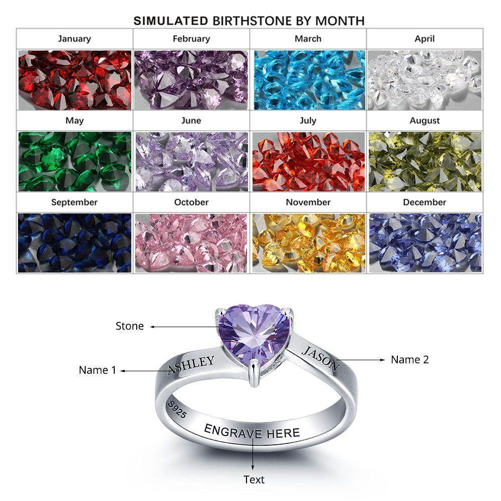 Promise Ring for Her with Single Heart Birthstone