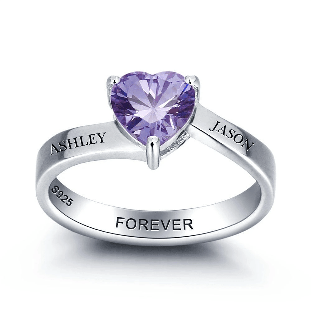 Personalized Promise Ring with Heart Birthstone PaulaMax Jewelry