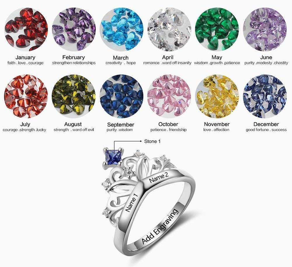 Princess Crown Ring with Birthstone with Birthstone Chart - PaulaMax Personalized Jewelry