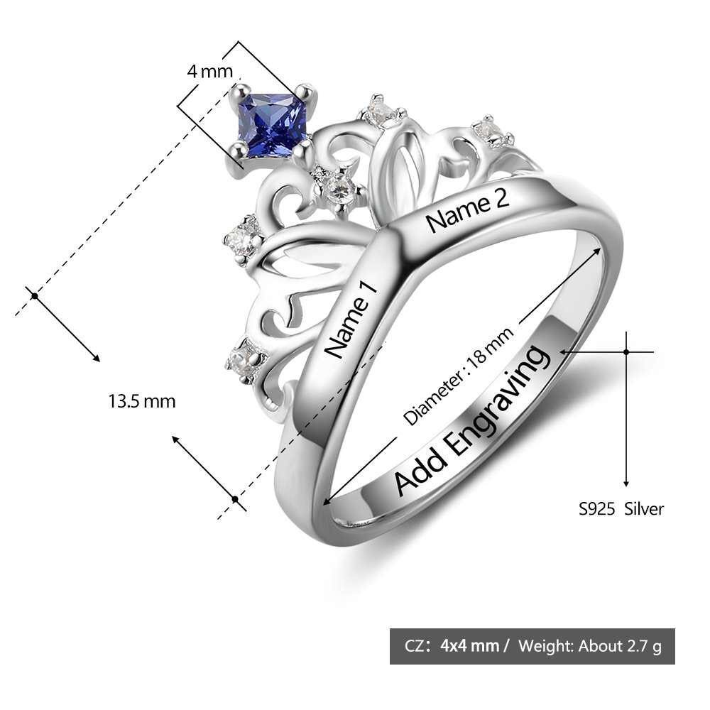 Princess Crown Ring with Birthstone with Measurements - PaulaMax Personalized Jewelry