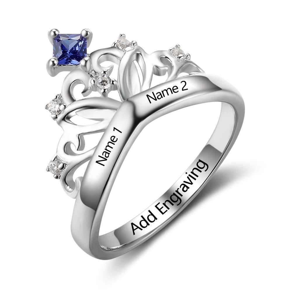 Princess Crown Ring with Birthstone - PaulaMax Personalized Jewelry