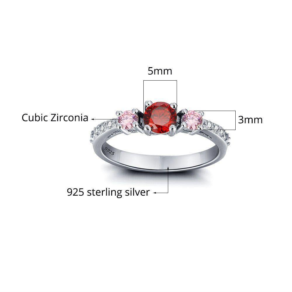 Sterling Silver 3 Round Stone Birthstone Ring Rings PaulaMax Personalized Jewelry