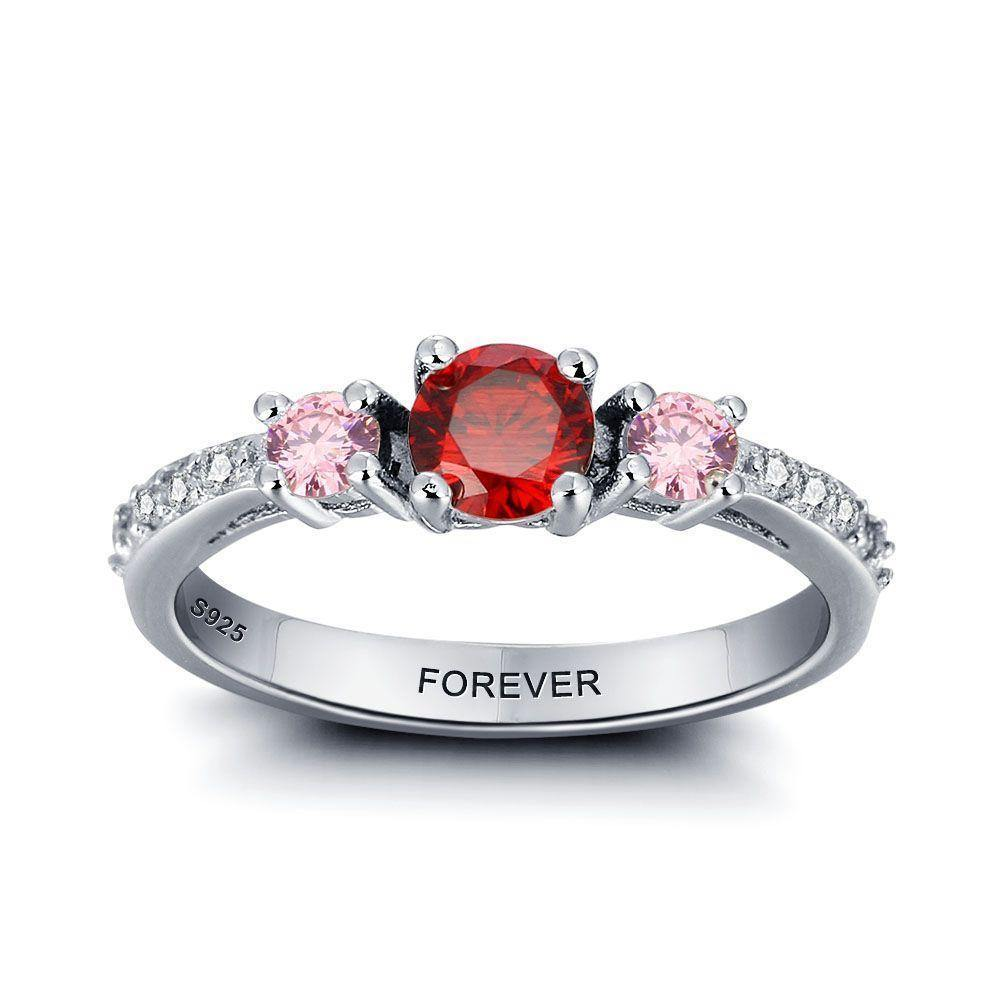 Promise Ring for Her with 3 Birthstones and Cubic Zirconia Accents PaulaMax Jewelry