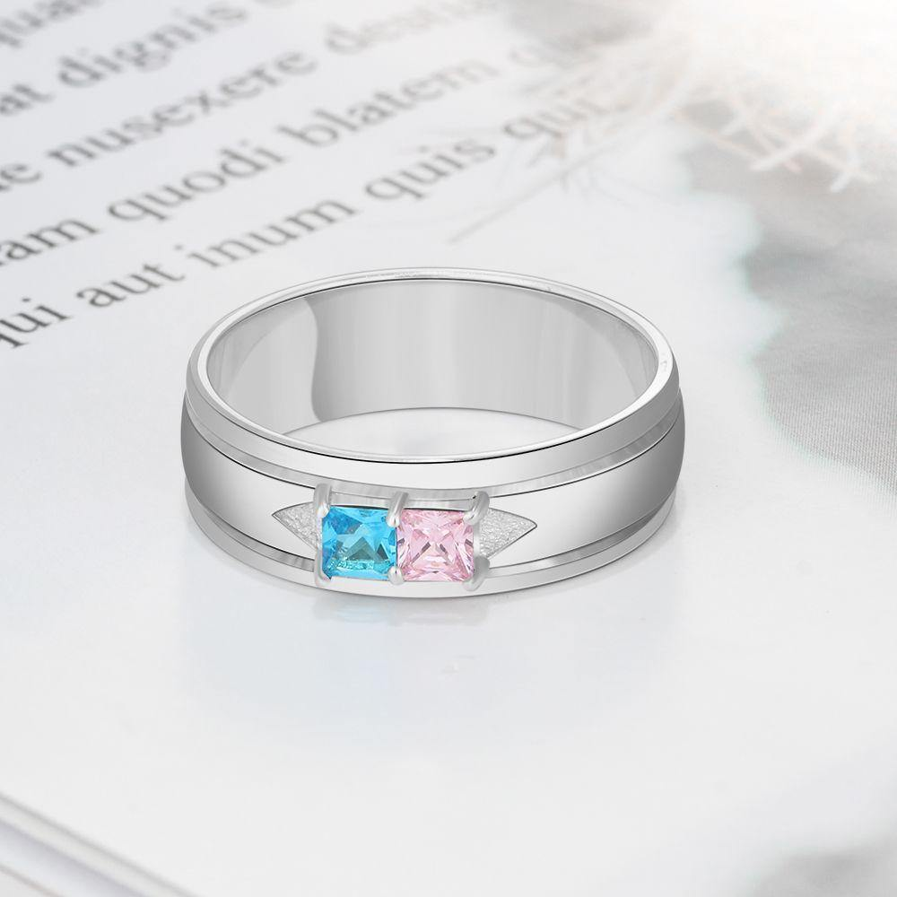 Promise Ring for Him with 2 Birthstones PaulaMax Personalized Jewelry