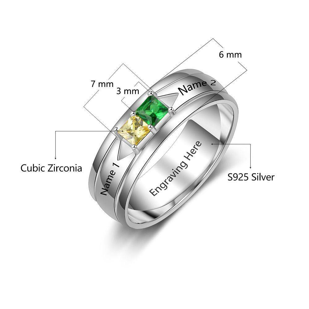 Promise Ring for Him with 2 Birthstones Measurements PaulaMax Personalized Jewelry
