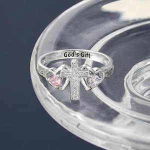 Religious Cross Ring with 2 Birthstones - PaulaMax Personalized Jewelry