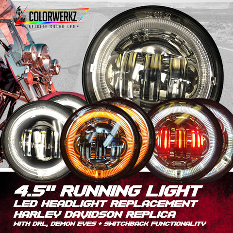 "4.5"" Harley Davidson Replica LED Running Light Replacement with DRL, Demon Eyes & Switchback Functionality"