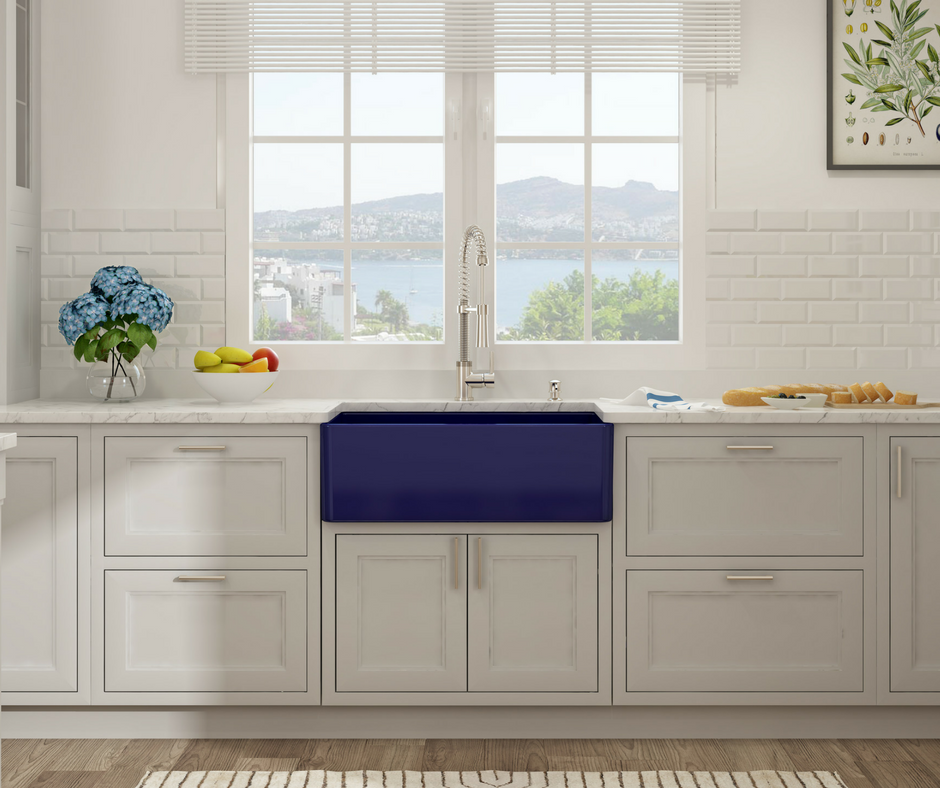 Bocchi Fireclay Apron Front Farmhouse Sinks in 9 Colors, Like BLUE