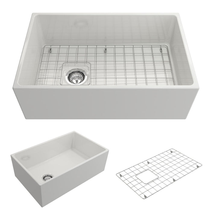 Bocchi Contempo Apron Front Fireclay 30-Inch Single Bowl Kitchen Sink with Protective Bottom Grid and Strainer, Available in 9 colors!-DirectSinks