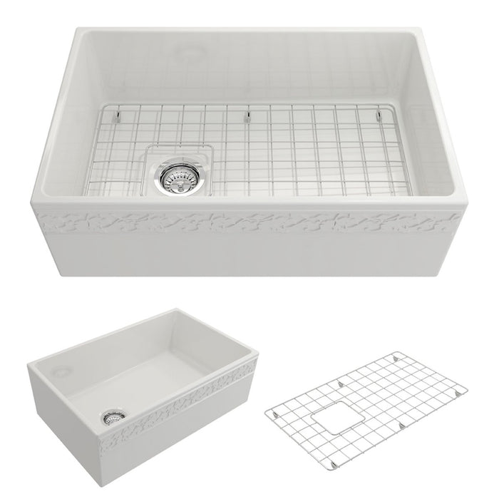 Bocchi Vigneto Apron Front Fireclay 30-Inch Single Bowl Kitchen Sink. Available in 9 Colors!-Kitchen Sinks-DirectSinks