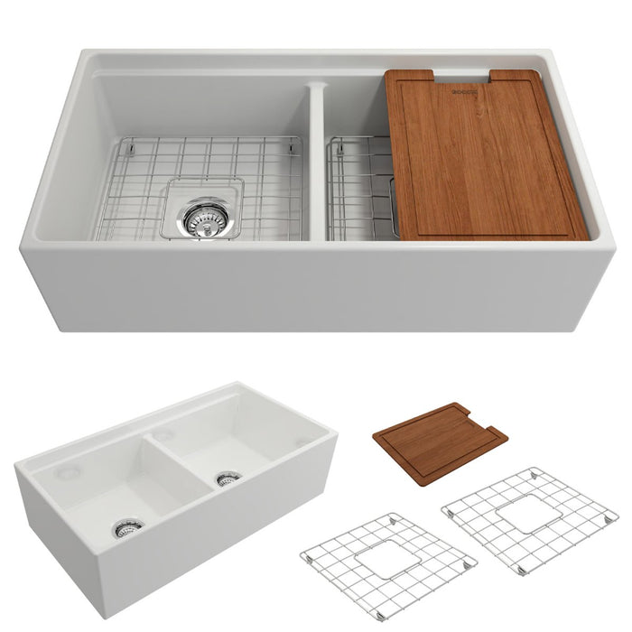 Bocchi Contempo Apron Front Step Rim Fireclay 36-Inch Double Bowl Kitchen Sink with Cutting Board. Available in 9 Colors!-Kitchen Sinks-DirectSinks