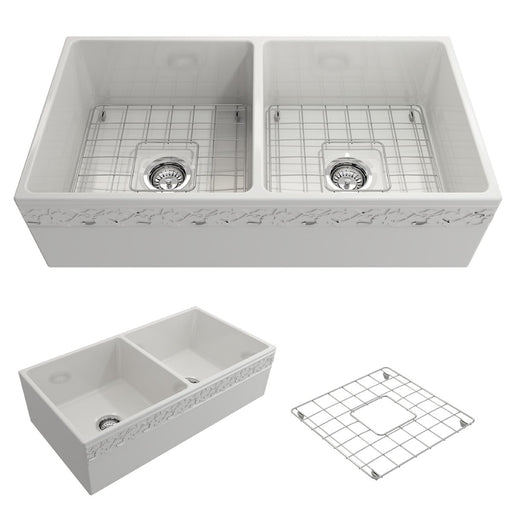 Bocchi Vigneto Apron Front Fireclay 36-Inch Double Bowl Kitchen Sink. Available in 9 Colors!-Kitchen Sinks-DirectSinks