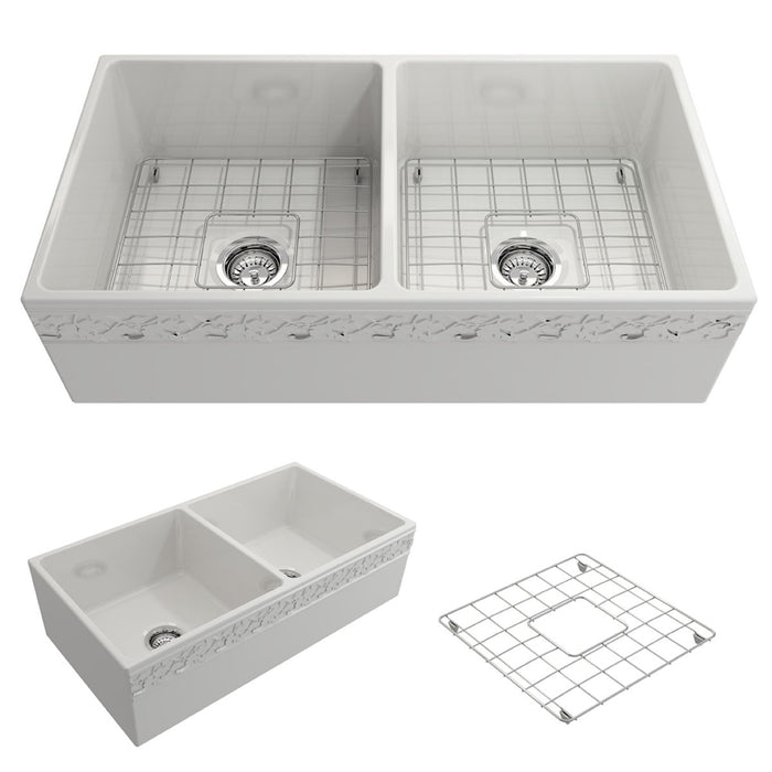 Bocchi Vigneto Apron Front Fireclay 36-Inch Double Bowl Kitchen Sink.  Available in 9 Colors!