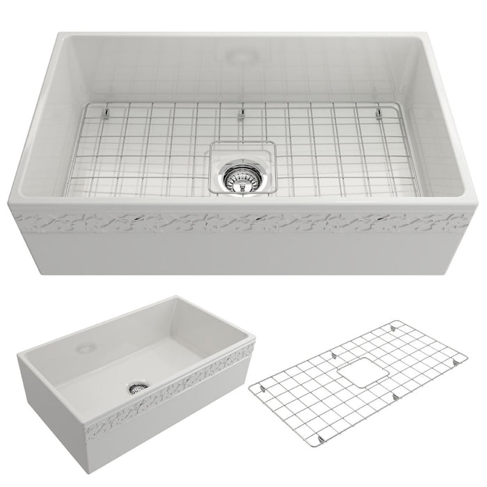 Bocchi Vigneto Apron Front Fireclay 33-Inch Single Bowl Kitchen Sink with Protective Bottom Grid and Strainer, Available in 9 colors!-DirectSinks