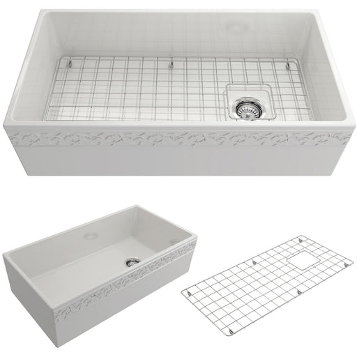 Bocchi Vigneto Apron Front Fireclay 36-Inch Single Bowl Kitchen Sink-Kitchen Sinks-DirectSinks