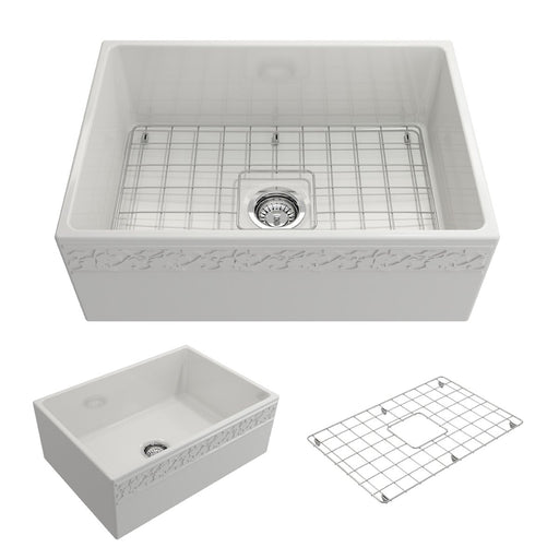 Bocchi Vigneto Apron Front Fireclay 27-Inch Single Bowl Kitchen Sink with Protective Bottom Grid and Strainer, Available in 9 colors!