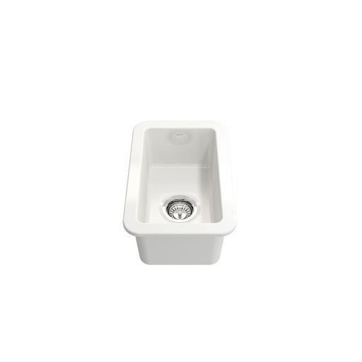 Bocchi Sotto Undermount Fireclay 12-Inch Single Bowl Kitchen Sink with Strainer. Available in 9 Colors!-Bar & Prep Sinks-DirectSinks