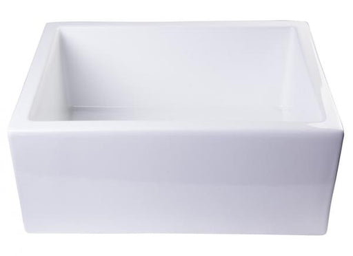 "AB2418SB-W 24"" White Smooth Thick Wall Fireclay Single Bowl Farm Sink-DirectSinks"
