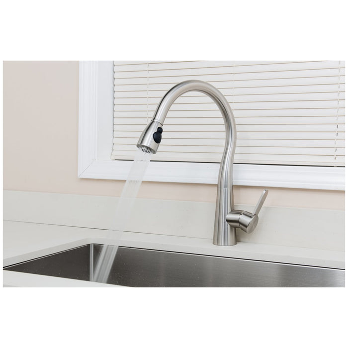 Wells Sinkware Alessio 17-Inch All Stainless Steel Lead-Free Single-Handle Pull-Down Kitchen Faucet in Stainless Steel-Kitchen Faucets Fast Shipping at Directsinks.