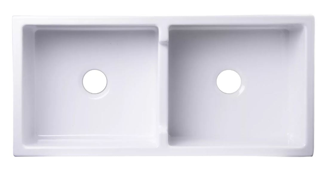 "AB3918-W 39"" White Smooth Thick Wall Fireclay Double Bowl Farm Sink"