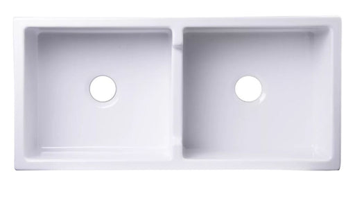 "AB3918-W 39"" White Smooth Thick Wall Fireclay Double Bowl Farm Sink-DirectSinks"