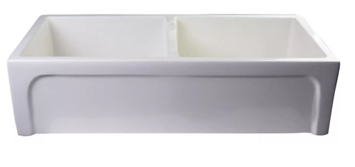 "AB3918ARCH-W 39"" White Arched Apron Thick Wall Fireclay Double Bowl Farm Sink-DirectSinks"
