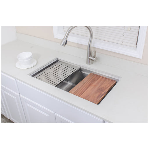 Wells Sinkware Handcrafted 32-Inch Undermount Single Bowl Stainless Steel Kitchen Sink with Companion Stainless Steel Colander, Bottom Protection Grid Rack and Rubber Wood Cutting Board-Kitchen Sinks Fast Shipping at Directsinks.