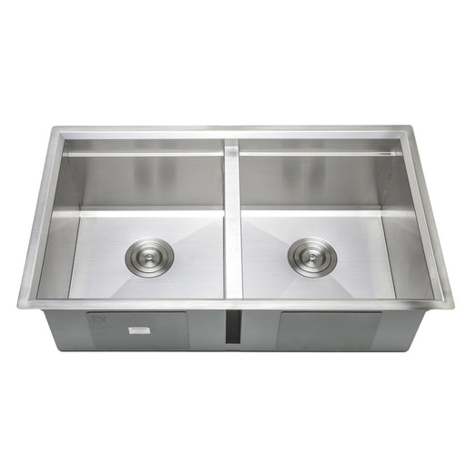 Wells Sinkware Handcrafted 32-Inch Undermount 50-50 Double Bowl Stainless Steel Kitchen Sink with Companion Stainless Steel Colander and Rubber Wood Cutting Board-Kitchen Sinks Fast Shipping at Directsinks.