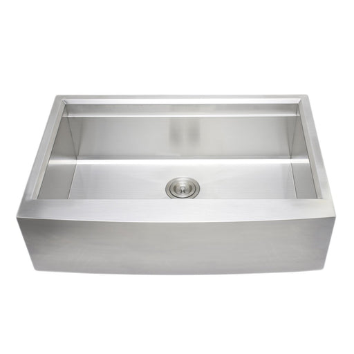 Wells Sinkware Handcrafted 33-Inch Arched Apron Front Farmhouse Single Bowl Stainless Steel Kitchen Sink with Companion Stainless Steel Colander, Bottom Protection Grid Rack and Rubber Wood Cutting Board-Kitchen Sinks Fast Shipping at Directsinks.