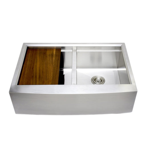 Wells Sinkware Handcrafted 33-Inch Arched Apron Front Farmhouse Equal Double Bowl Stainless Steel Kitchen Sink with Companion Stainless Steel Colander and Rubber Wood Cutting Board-Kitchen Sinks Fast Shipping at Directsinks.