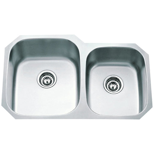Hardware Resources 16 Gauge 60/40 Stainless Steel Undermount Sink with Larger Left Bowl-DirectSinks