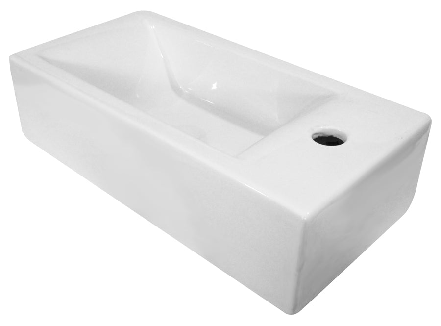 Ab108 Small Modern Rectangular Wall Mounted Ceramic Bathroom Sink