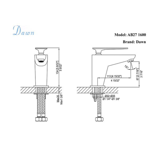 Dawn Single Lever Solid Brass Lavatory Faucet in Chrome and White-Bathroom Faucets Fast Shipping at DirectSinks.
