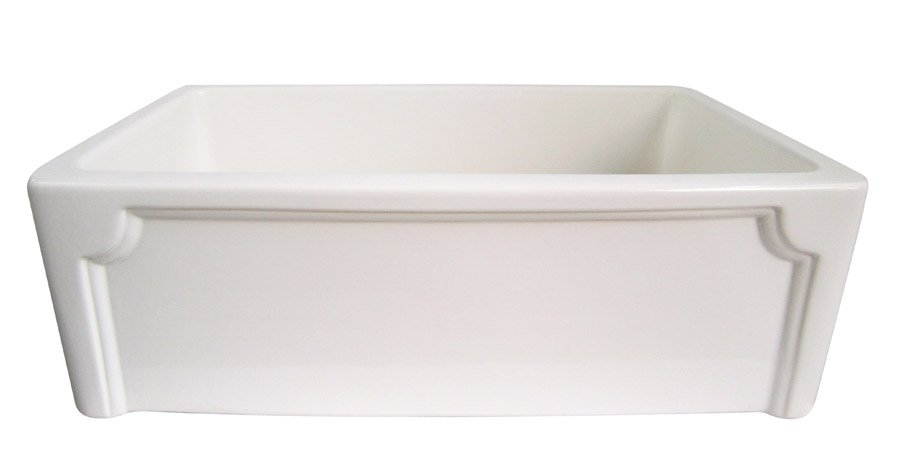 "Alfi Biscuit 30"" Single Bowl Thick Fireclay Farmhouse Kitchen Sink with Decorative Apron"