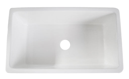 "Alfi 30"" Single Bowl Thick Fireclay Farmhouse Kitchen Sink with Smooth Apron-DirectSinks"